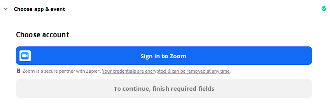 Sign in to Zoom on Zapier